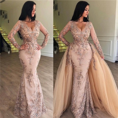Sexy Mermaid V-neck Long Sleeves Appliqued Prom Dresses with Detachable Skirt_4