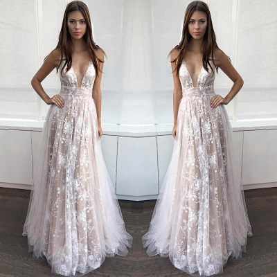 A-line Sexy Lace-Appliques Deep-V-Neck Layers Prom Dresses_3