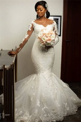 Long Sleeve Sheer Tulle Mermaid Lace Appliques Wedding Dresses Cheap Online_1