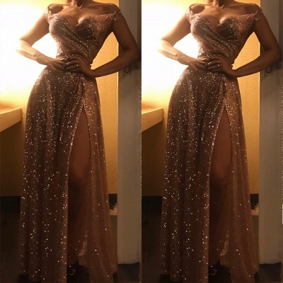 Cheap Off The Shoulder Sequins Prom Dresses | Long Ruffles Side Slit Simple Formal Dress BC1409_3