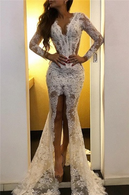 Lace Long Sleeve Prom Dresses with Slit | Elegant Cheap Formal Dresses with Court Train
