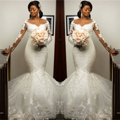 Long Sleeve Sheer Tulle Mermaid Lace Appliques Wedding Dresses Cheap Online_2