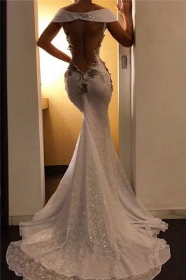 Gold Appliques Mermaid Long Formal Dresses| Off The Shoulder Sequins Lace Sexy Cheap Prom Dresses_2