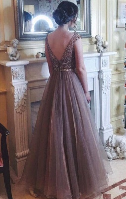 Chocolate Crystals  Tulle Sweep Train Prom Dress_3