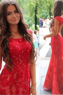 Red Lace Halter Mermaid Evening Dress Latest Backless Sweep Train Formal Occasion Dresses_2