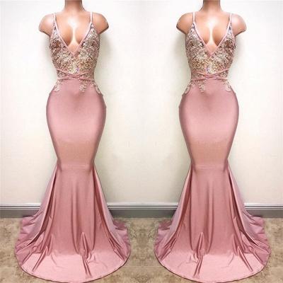 V-neck Beads Pink Long Prom Dresses Cheap | Mermaid Formal Dresses for Women_3