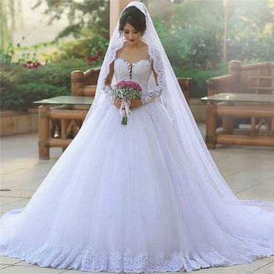 Long Sleeve Bridal Dress Cheap Online | Tulle Lace Appliques Popular Ball Gown Wedding Dresses_3