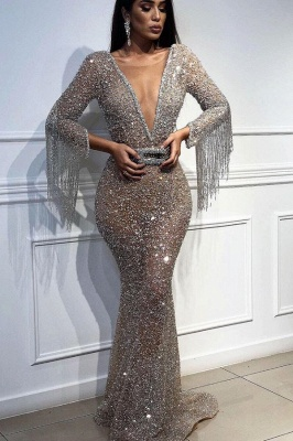 Sexy Mermaid Tulle Sequins Deep V-Neck 3/4 Sleeves Floor-Length Prom Dress with Tassels_2