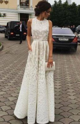 Satin Long Charming white Gradient Scoop Print Sleeveless Prom Dresses_2