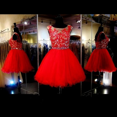Sleeveless Tulle Mini Appliques Red Custom Made A-line Sexy Short Homecoming Dresses_3