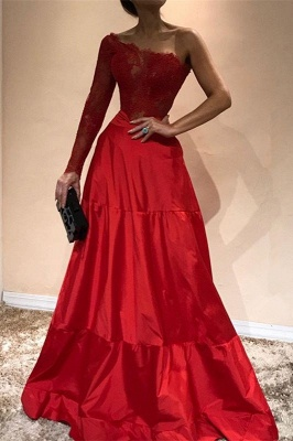 Gorgeous One-ShoulderEvening Dress | Lace Red Prom Party Gowns_2