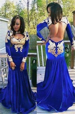 Long-Sleeve Zipper Gorgeous Appliques Mermaid Royal-Blue Prom Dress   Plus Size Prom Dress_2