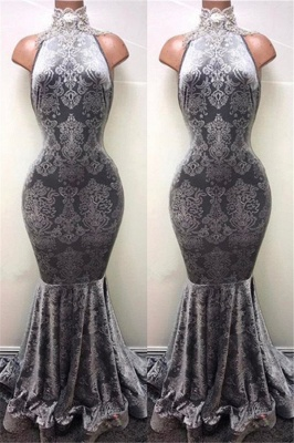 Silver Mermaid Long Prom Dresses Cheap | Sleeveless High Neck Plus Size Formal Dresses BA8233_2