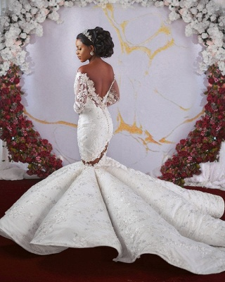 Luxurious Off-the-shoulder Long Sleeves Mermaid Ruffles Appliqued Beading Wedding Dresses_4
