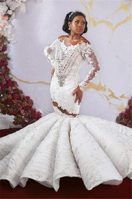 Luxurious Off-the-shoulder Long Sleeves Mermaid Ruffles Appliqued Beading Wedding Dresses_3