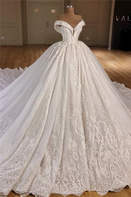 Appliques Off The Shoulder Ball Gown Chapel Train Wedding Dresses Cheap_2