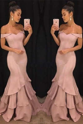 Pink Off The Shoulder Mermaid Prom Dresses Tiered Simple Formal Gowns SK0118-GA0_2