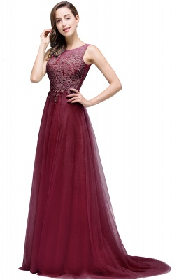 ABRIL | A-line Court Train Tulle Evening Dress with Appliques_3