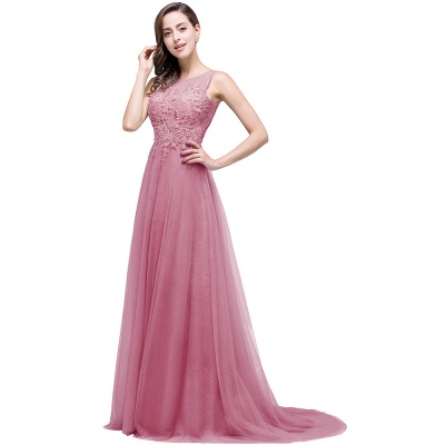 ABRIL | A-line Court Train Tulle Evening Dress with Appliques_2