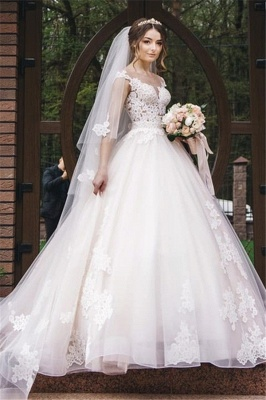 Elegant Lace V-Neck Appliques Sleeveless Wedding Dresses_1