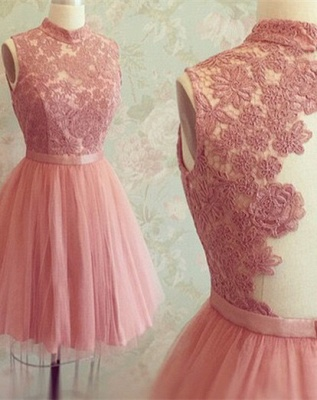 New Arrival High Neck Sleeveless Appliques Lace Mini Sexy Short Homecoming Dresses_2
