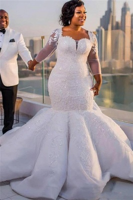 Sexy  Mermaid Cheap Lace Wedding Dresses | Chapel Train Long Sleeve Lace Appliques Bridal Gowms_2