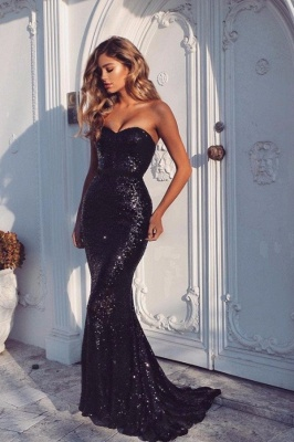 Black Sequins Sexy Mermaid Prom Dresses Sexy Sweetheart Neck Evening Gowns BA4554_2