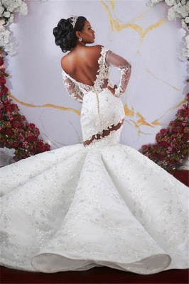 Luxurious Off-the-shoulder Long Sleeves Mermaid Ruffles Appliqued Beading Wedding Dresses_2