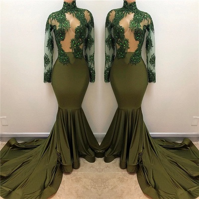 Olive Green Long Sleeve Long Prom Dresses Cheap Plus Size | High Neck Mermaid Formal Evening Gowns BA7958_3