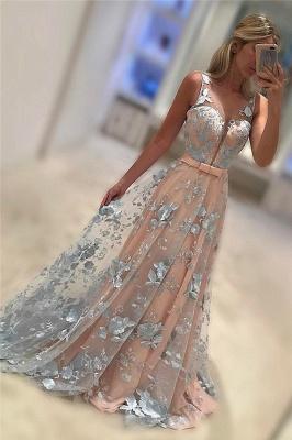 Sleeveless V-Neck Belt Applique Chiffon Sweep Train Evening Dresses_2