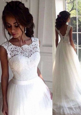 Sleeveless Sexy Wedding Dresses Cheap Online | Ribbon Lace Tulle Sweep Train Bateau Bridal Gowns_2