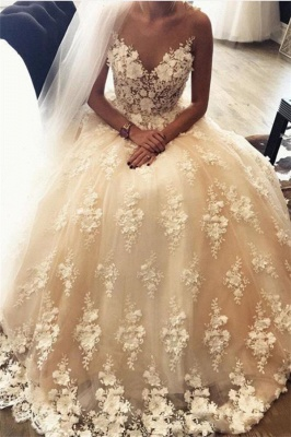 A-Line Sweep Train Lace Appliques Exquisite 3D-Floral Sweetheart Wedding Dresses_2