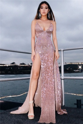 Sexy V-Neck Spaghetti Straps Sheath Front Split Prom Dress_2