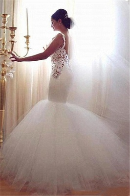 Lace Appliques V-Neck Sexy Mermaid Wedding Dresses Cheap Online Sleeveless Tulle Bridal Gowns_2