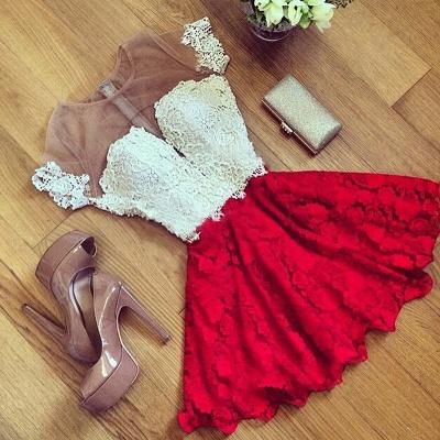 Short Sleeve Illusion Cute Lace Sexy Short Homecoming Dresses BA7001_3