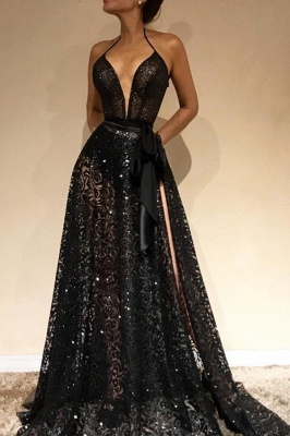 Sexy Sheer Evening Gowns | Halter Slit Prom Dresses with Sash_2