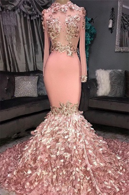Glamorous Round Neck Flowers Long Sleeve Sequins Mermaid Long Prom Dresses Cheap_2