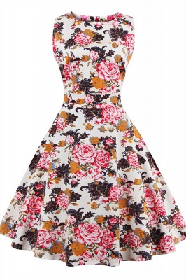 Glorious Jewel Sleeveless A-line Fashion Belted Dresses   Floral Knee-Length Women's Dress
