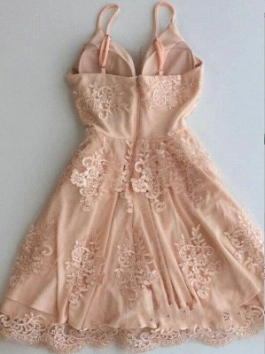 Cute Zipper Lace Sleeveless Spaghetti Straps Sexy Short Homecoming Dresses_3