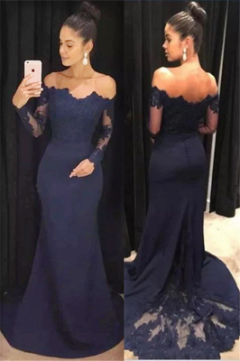Long Sleeve Navy Blue Formal Dresses | Cheap Lace Long Prom Dresses_2