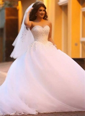 Sweetheart Appliques Ball Bridal GownNew Arrival Lace Up Elegant Wedding Dresses with Beadings_1