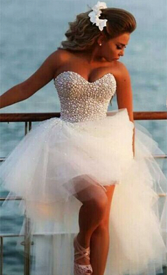 Beach Wedding Gowns Beading Pearls Hi Lo Sweetheart Ruched Ruffle Tulle Bridal Dresses_2