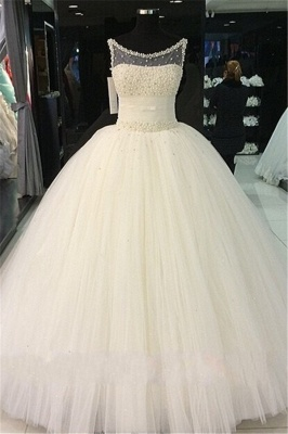 Pearls Beadings Princess Tulle Sleeveless Gorgeous Wedding Dress Cheap_2