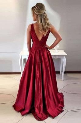 Vintage  Burgundy Evening Dresses | Scoop Sleeveless Lace Appliques prom Dresses_3