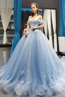 Stylish Ball Gown Off the Shoulder Long Prom Dress | Luxury Sweetheart Lace Appliques Prom Gown_1