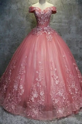 Elegant Off-The-Shoulder Ball gown Appliques Sleveless Floor-Length Lace-up Prom Dresses_2