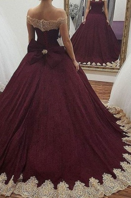 Glamorous Off the Shoulder Bowknot Burgundy Gold Ball Gown Fromal Prom Dresses_2