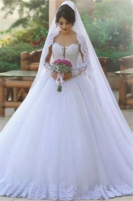 Long Sleeve Bridal Dress Cheap Online | Tulle Lace Appliques Popular Ball Gown Wedding Dresses_2