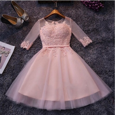 Appliques Tulle Half Sleeves Pink Sexy Short Homecoming Dresses_3