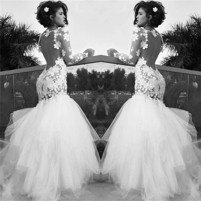 Retro Mermaid White Wedding Dresses with Sleeves | Backless Long Sleeve Tulle Bridal Gowns_2
